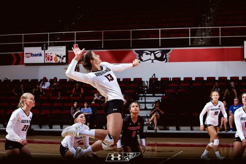 Austin Peay Women's Volleyball senior Cecily Gable nails 18 kills to power Govs past UT Martin, Saturday. (APSU Sports Information)