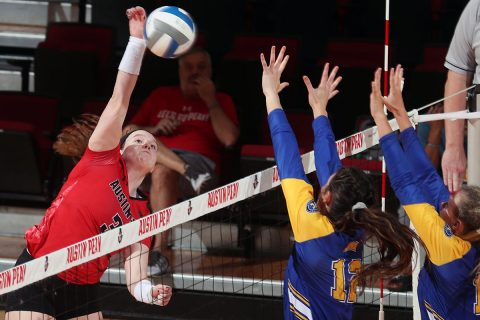 Austin Peay Women's Volleyball sophomore Brooke Moore had 16 kills in win against Morehead State at the Dunn Center, Saturday. (APSU Sports Information)