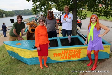 City of Clarksville Mayor's Office and Mayor Kim McMillan dressed to Scooby Doo theme with the Mystery Machine boat.