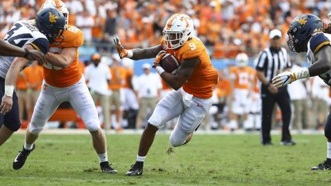 Tennessee Vols Football sophomore running back Tim Jordan rushed for 118 yards on 20 touches and scored a touchdown Saturday against West Virginia. (UT Athletics)