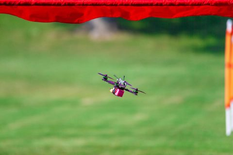 Michael Hunter's racing drone flies through one of the gates of the course. (APSU student Denzil Wyatt)
