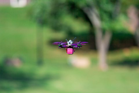 The Drone Club at APSU has three drone racers who will vie this week to qualify for the national championship next spring. The drones can travel up to 100 mph. Bigger racing drones can go faster. (APSU student Denzil Wyatt)