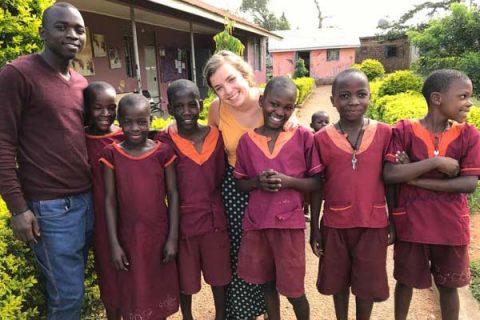 Mallory Fundora visits children in Uganda.
