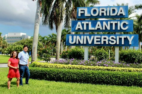 Miller, with Jang, at the entrance of Florida Atlantic University, where the Austin Peay senior spent nine weeks during the summer doing undergraduate research. She was one of 11 undergraduates from across the country chosen for the program.