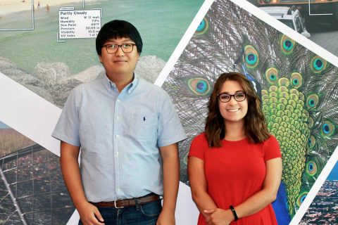"""Miller stands with Jang at FAU's Institute for Sensing and Embedded Network Systems Engineering, where Miller completed a summer undergraduate research program. """"The experience was amazing, and I got to learn a lot about life as a graduate student,"""" she said."""