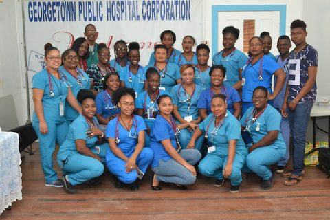 Nurses in Guyana wear stethoscopes donated by Austin Peay State University nursing faculty.