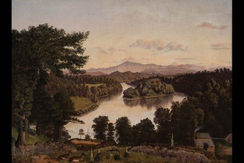 Belle Isle from Lyon's View, a view along the Tennessee River at Knoxville, by James Cameron, 1861. Oil on Canvas. On exhibit in the Tennessee State's Museum as part of its Permanent Exhibitions.