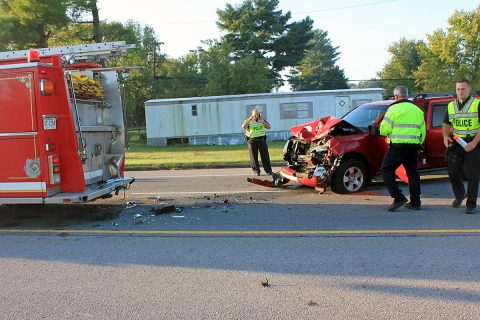 2009 Nissan SUV crashed into the side of a Fire Truck on Tiny Town Road this morning. (CPD Officer Szczerbiak)