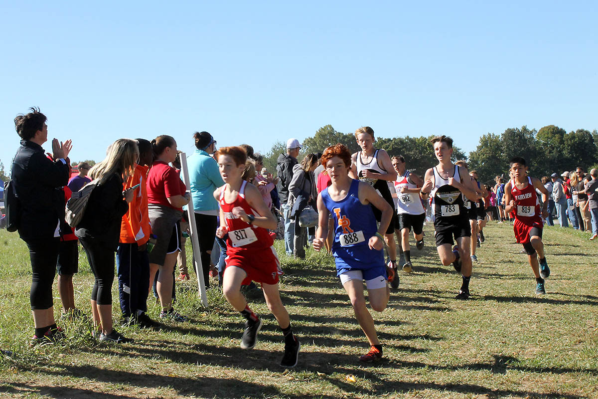 Middle School boys power towards the finish line at the 2020 cross county state meet in Clarksville. (Visit Clarksville)
