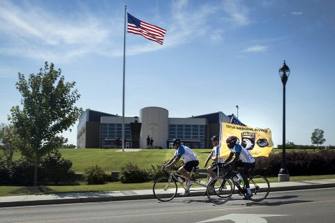 Participants ride the final stretch past the 101st Airborne Division (Air Assault) Headquarters on the way to the finish line during a previous Bluegrass Rendezvous Bike Ride in 2015. This week Soldiers from Fort Campbell's Warrior Transition Battalion will complete a 200-mile bike ride on and around Fort Campbell Thursday, September 27th and Friday, September 28th. The endurance ride is one of many adaptive reconditioning outreach opportunities for wounded, ill and injured Soldiers to get involved in as they recover and restore their health at the WTB. (U.S. Army photo by David Gillespie)