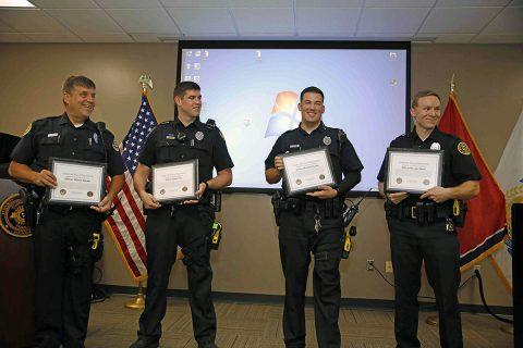 (L to R) Clarksville Police Officer William Becker, Officer Adam Post, Officer Michael Ciupka and Officer Morgan Baker.