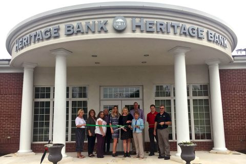 Clarksville Montgomery County Green Ribbon Cutting for Heritage Bank. (L to R) Melinda Shepard, Rose Melton, Barbara Clifton, David Graham, Amber Empson, Kasey Bright, Mayor Kim McMillan, Doug Jones, Chase Clark, Scott Sandridge.