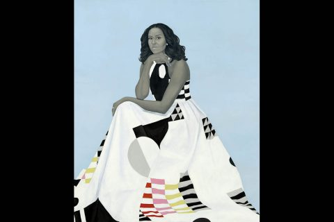 In February 2018, Sherald unveiled her official portrait of former First Lady Michelle Obama, commissioned for the Smithsonian National Portrait Gallery, Washington, D.C. (Smithsonian National Portrait Gallery)