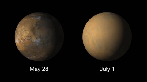 Globes from May 28th and July 1st show a global dust storm completely obscuring the surface of Mars. (NASA/JPL-Caltech/MSSS)