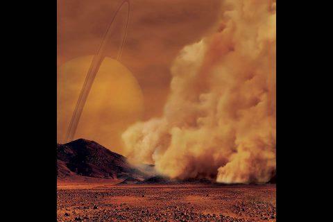 Artist's concept of a dust storm on Titan. (IPGP/Labex UnivEarthS/University Paris Diderot – C. Epitalon & S. Rodriguez)