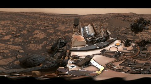 This 360-degree panorama was taken on Aug. 9 by NASA's Curiosity rover at its location on Vera Rubin Ridge. (NASA/JPL-Caltech/MSSS)