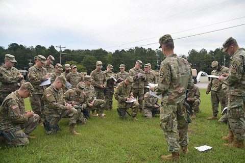 Soldiers of the Tenn. Army National Guard's 117th Military Police Battalion conduct a convoy operations briefing prior to departure from battalion headquarters in Athens, Tenn. on September 16, 2018. More than 100 personnel from the battalion are headed to South Carolina to provide assistance to residents in the aftermath of Hurricane Florence. (CW4 Nick Atwood, Tenn. National Guard)