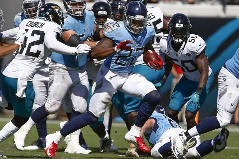 Tennessee Titans running back Derrick Henry (22) runs for a first down during the second half against the Jacksonville Jaguars at TIAA Bank Field on September 23rd, 2018. (Reinhold Matay-USA TODAY Sports)