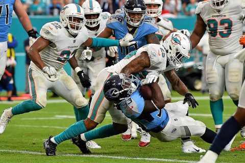 Tennessee Titans running back Dion Lewis (33) backs in for a touchdown against the Miami Dolphins during the second half at Hard Rock Stadium. (Jasen Vinlove-USA TODAY Sports)