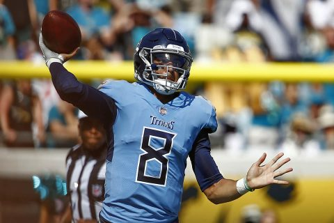 Tennessee Titans quarterback Marcus Mariota (8) throws a pass during the second half against the Jacksonville Jaguars at TIAA Bank Field. (Reinhold Matay-USA TODAY Sports)