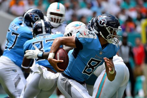 Tennessee Titans quarterback Marcus Mariota (8) rushes with the ball against the Miami Dolphins during the first half at Hard Rock Stadium. (Jasen Vinlove-USA TODAY Sports)
