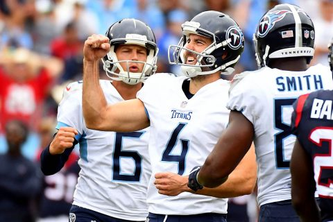 Tennessee Titans kicker Ryan Succop (4) celebrates after kicking the game-winning field goal during the second half against the Houston Texans at Nissan Stadium on September 15th, 2018. (Christopher Hanewinckel-USA TODAY Sports)