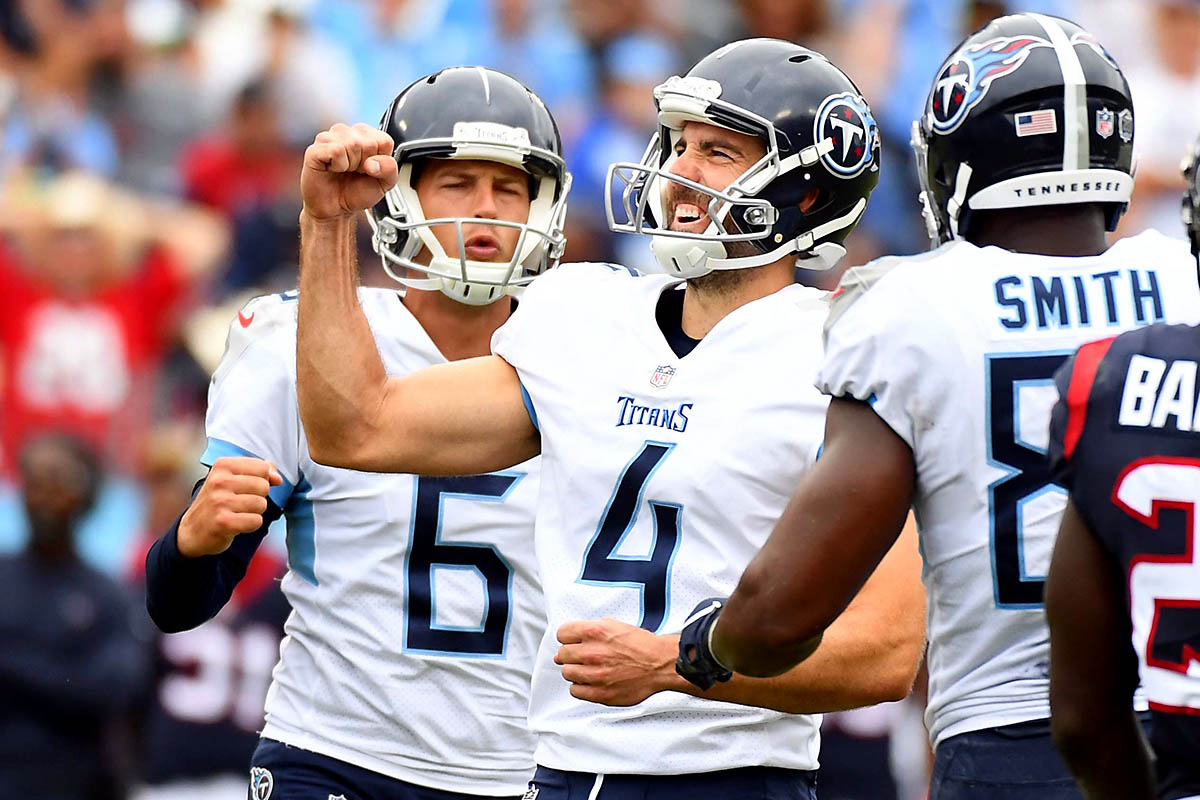 Tennessee Titans kicker Ryan Succop (4) celebrates after kicking the game-winning field goal during the second half against the Houston Texans at Nissan Stadium. (Christopher Hanewinckel-USA TODAY Sports)