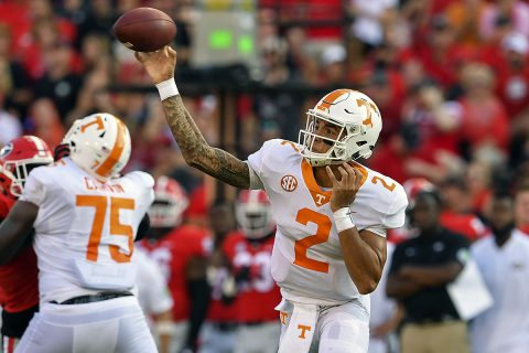 Tennessee Volunteers quarterback Jarrett Guarantano (2) passes against the Georgia Bulldogs during the second half at Sanford Stadium. (Dale Zanine-USA TODAY Sports)