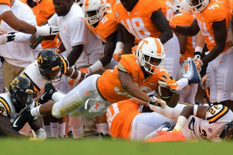Tennessee Volunteers running back Jeremy Banks (33) runs the ball against the East Tennessee State Buccaneers during the second half at Neyland Stadium. Tennessee won 59 to 3. (Randy Sartin-USA TODAY Sports)