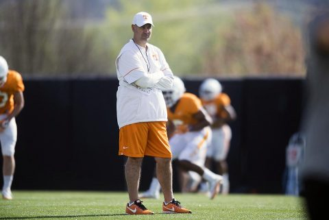 Tennessee head coach Jeremy Pruitt watches during a Vols football practice at University of Tennessee. (Caitie McMekin/Knoxville News Sentinel via USA TODAY NETWORK)