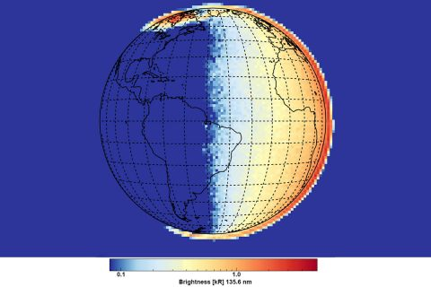 First light data from GOLD was captured at 6 a.m. local time, near sunrise in eastern South America, and shows the ultraviolet atomic oxygen emission from Earth's upper atmosphere. Colors correspond to emission brightness, with the strongest in red and the weakest in blue. The emission is produced at altitudes around 100 miles above the surface (note how it extends above Earth's surface on the horizon), when Earth's upper atmosphere absorbs high energy photons and particles. (NASA/LASP/GOLD)