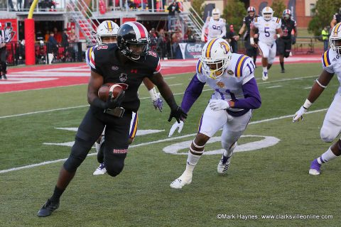 Austin Peay Football wide receiver Baniko Harley caught three passes for 86 yards and two touchdowns Saturday against Tennessee Tech at Forteara Stadium.