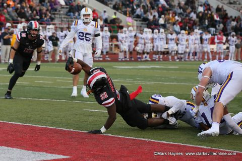 Austin Peay Football running back Prince Momodu stretches the ball out over the goal line for a touchdown against Tennessee Tech Saturday.