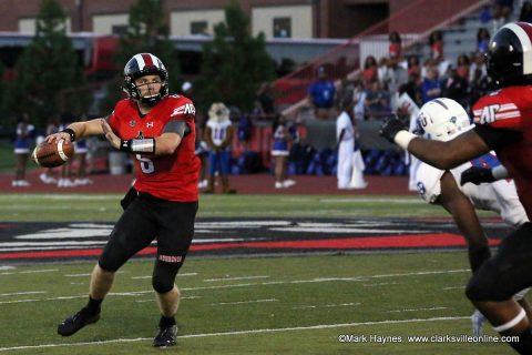 Austin Peay sophomore quarterback Jeremiah Oatsvall.
