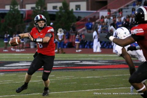 Austin Peay Football quarterback Jeremiah Oatsvall had 189 passing yards and rushed for 76 yards in win over Tennessee State Saturday night at Fortera Stadium. (APSU Sports Information)