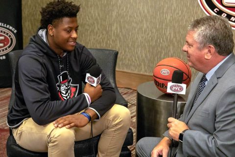 Austin Peay Men's Basketball sophomore Terry Taylor at OVC Media Day. (APSU Sports Information)