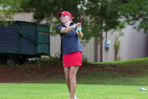 Austin Peay State University Women's Golf senior Taylor Goodley sits three shots back from first at Fred Marx Invitational. (APSU Sports Information)