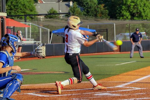Austin Peay Women's Softball's Carly Mattson hits grand slam to give Red Team 5-1 win over the Black Team at annual Fall World Series. (APSU Sports Information)