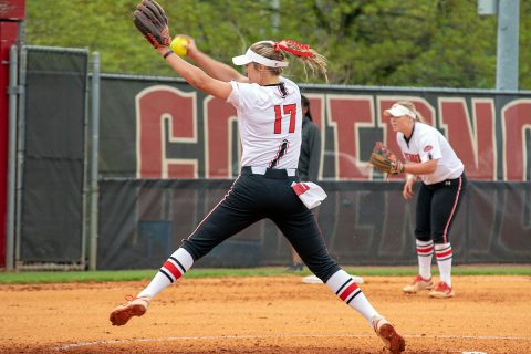 Austin Peay Women's Softball sophomore Kelsey Gross throws shutout to power Red Team to victory Friday. (APSU Sports Information)