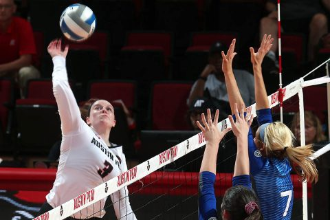Austin Peay Women's Volleyball sophomore Brooke Moore led the Govs with 16 kills in win over Eastern Illinois Friday night at the Dunn Center. (APSU Sports Information)