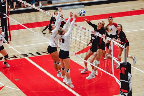 Austin Peay Women's Volleyball records seasaon high tying 14 blocks in win over Jacksonville State at the Dunn Center Friday night. (APSU Sports Information)