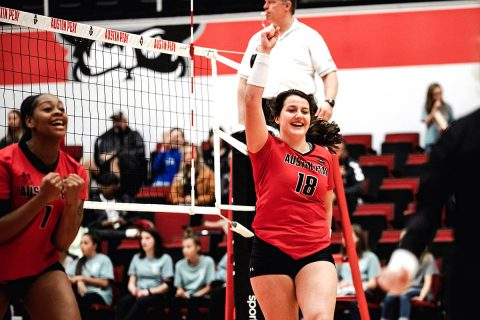 Austin Peay Women's Volleyball sophomore Caroline Waite comes off the bench to rally Govs in win over Tennessee Tech. Waite finished with 27 assists, 7 digs and 2 blocks. (APSU Sports Information)