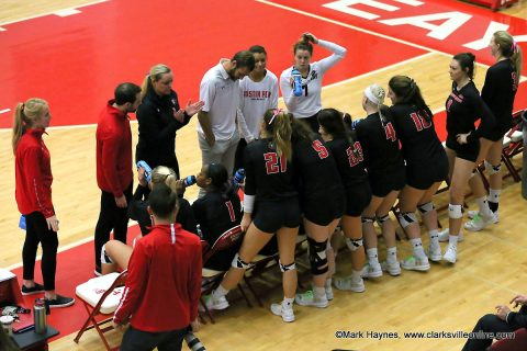 Austin Peay Women's Volleyball unable to get on track in four set loss at Murray State Tuesday night. (APSU Sports Information)