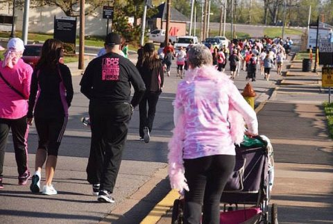 Participants at last year's APSU Breast Cancer Awareness 5K run across campus.