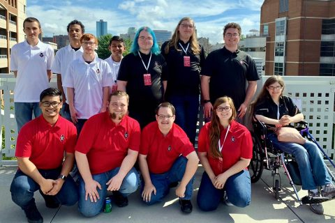 Austin Peay State University ACM members who attended VolHacks were, top row, from left, Daniel Blankenship, Zack Toupe, Aidan Murphy, Parth Patel, Peyton VanHook, William Kersten and Harrison Welch, and bottom row, from left, Chris Tuncap, Bryan Bishop, Thomas Bau, Robyn Yates, Lexie Nance.