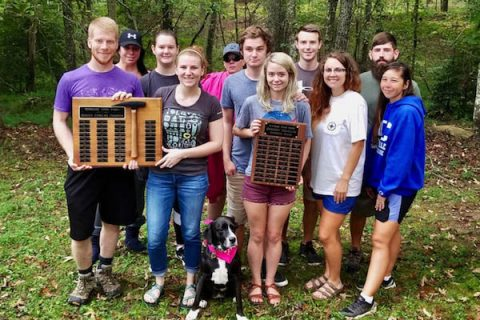 GeoClub attendees were, front row from left, John Butkevicius, Jennifer Stephens, Stiggy Stephens (dog), Brittany Welch, Jeanette Williams and Sarah Burkholder, and back row from the left, Tina Silverman, Lily Poteete, Dawn Grice, Jamin Welch, Chad Bolding and Nate Burkholder.