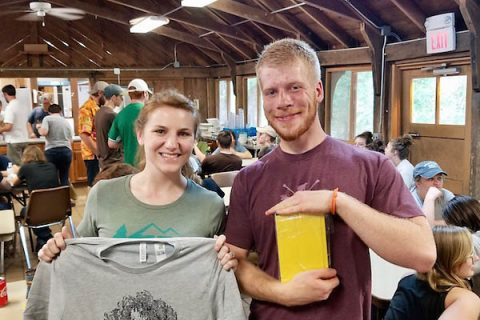 Jennifer Stephens and John Butkevicius show off their awards after the Pressure and Temperature competition. Butkevicius ate a lot of Hattie B's hot chicken for the honor.