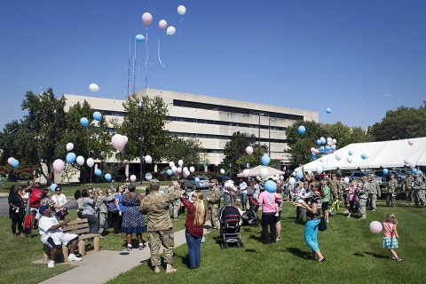 "During a balloon release in 2015, supporters and bereaved family members acknowledge and celebrate the significant lives of children lost during pregnancy, infancy or a young age. Blanchfield Army Community Hospital's Perinatal Bereavement Nurses and Chaplain will host the annual 2018 remembrance later this month, Thursday, Oct. 18th at 10:00am on the lawn outside the ""A"" entrance of the hospital. (U.S. Army photo by David E. Gillespie)"
