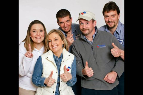 (L to R) Nicole Darke, Alana Ward - owner, Kirt Neal, Jesse Waldrop, and Jason Brown with Baggett Heating and Cooling.