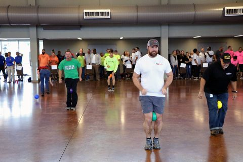 City of Clarksville employees race across the Wilma Rudolph Event Center during the penguin walk competition during the 2nd Annual United Way Field Day October 16th, 2018.